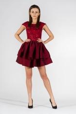 Bordowa Sukienka Wieczorowa z Tafty i Koronki