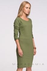Khaki Modelująca Dzianinowa Sukienka z Długim Rękawem
