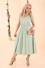 Sukienka na Ramiączkach z Plisowanym Dołem - Miętowa