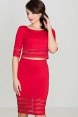Czerwony Komplet Spódnica Midi i Krótka Bluzka z Prześwitami