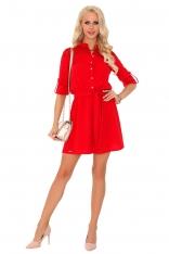 Czerwona Rozkloszowana Sukienka na Guziki z Koronką