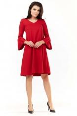 Czerwona Sukienka Wizytowa o Luźnym Kroju z Falbankami przy Rękawach