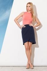 Granatowa Asymetryczna Spódnica Mini