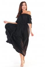 Czarna Długa Sukienka z Hiszpańskim Dekoltem
