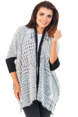 Sweter we Wzory z Czarnymi Ściągaczami Wzór - Kratka