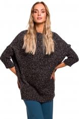 Grafitowy Melanżowy Oversizowy Sweter z Półgolfem