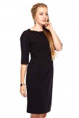 Czarna Sukienka Wizytowa z Rękawem do Łokcia