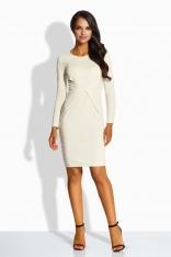 Beżowa Sukienka Ołówkowa z Dekoracyjnym Drapowaniem