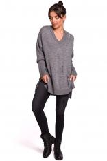 Szary Oversizowy Sweter w serek z Efektem Damage