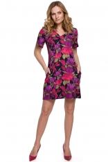 Trapezowa Sukienka Mini w Kwiatowy Wzór - Model 2