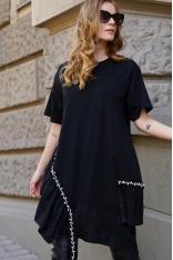 Czarna Sukienka z Plisowaną Falbanką z Perełkami
