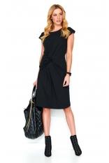 Czarna Dresowa Sukienka Midi z Ozdobnym Przełożeniem
