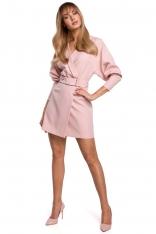 Sukienka Kopertowa z Bufiastym Rękawem - Różowa