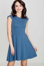 Niebieska Rozkloszowana Sukienka z Zakładkami