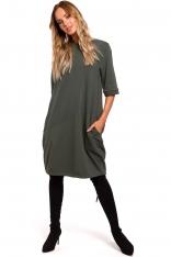 Zielona Dzianinowa Sukienka Bombka z Krótkim Rękawem