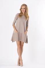 Cappuccino Trapezowa Sukienka z Kontrastowym Wykończeniem