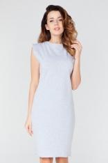 Jasnoszara Prosta Dzianinowa Sukienka z Dekoracyjnym Wiązaniem