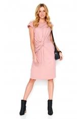 Różowa Dresowa Sukienka Midi z Ozdobnym Przełożeniem