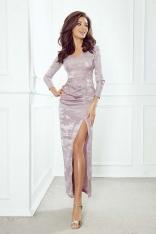 Pudrowa Sukienka Maxi z Efektownym Połyskiem
