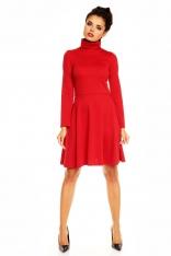Czerwona Rozkloszowana Sukienka z Wysokim Golfem