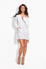 Biała Dzianinowa Sukienka/Tunika ze Skórzanymi Kieszeniami