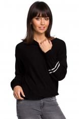 Czarny Nietoperzowy Sweter z Bufiastym Rękawem z Lampasami