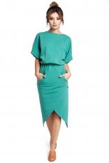 Zielona Sukienka z Kopertowo Zakładanym Dołem