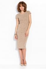 Beżowa Klasyczna Dopasowana Sukienka z Krótkim Rękawem