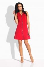 Czerwona Sukienka Rozkloszowana bez Rękawów z Suwakiem
