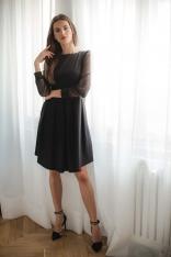 Czarna Rozkloszowana Sukienka z Siateczkowym Rękawem