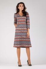 Boho Trapezowa Wizytowa Sukienka Midi z Kieszeniami