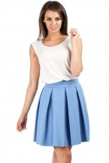 Niebieska Spódnica z Modnymi Plisami