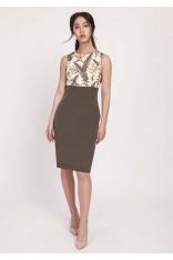 Khaki Klasyczna Ołówkowa Sukienka z Łączonych Materiałów