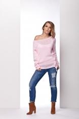 Różowy Sweter z Ozdobnym Wiązaniem na Boku