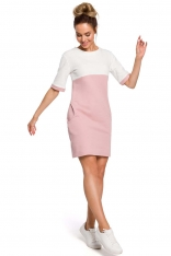 Pudrowo Biała Dwubarwna Krótka Sukienka z Kieszeniami