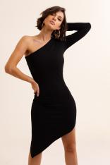 Czarna Asymetryczna Ołówkowa Sukienka na Jedno Ramię