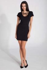 Czarna Dopasowana Mini Sukienka z Intrygującym Dekoltem