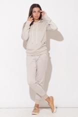 Komfortowe Beżowe Spodnie z Wiązaniem