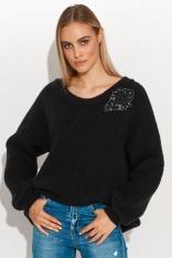 Moherowy Sweter z Błyszczącą Naszywką - Czarny
