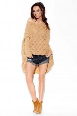 Kamelowy Kimonowy Sweter z Ażurowym Wzorem