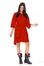 Czerwona Luźna Casualowa Sukienka z Szerokimi Rękawami