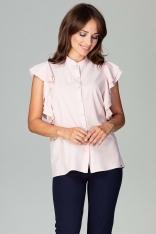 Różowa Koszulowa Bluzka z Falbankowym Rękawem
