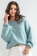 Luźny Sweter z Szerokimi Rękawami - Niebieski