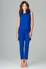 Niebieski Komplet Bluzka +Spodnie z Wywijaną Nogawką