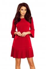 Czerwona Sukienka Wizytowa z Plisowanymi Falbankami