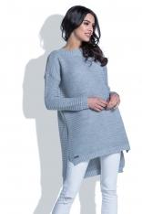 Szary Sweter w Prążek z Dłuższym Tyłem