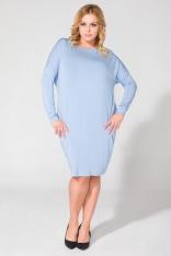 Niebieska Luźna Dzianinowa Sukienka Midi z Długim Rękawem Plus Size