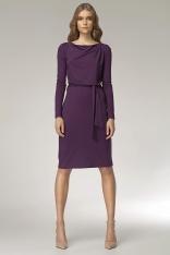 Fioletowa sukienka z Lejącym Dekoltem - Promocja!!