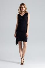 Czarna Asymetryczna Sukienka Modnie Marszczona
