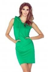 Zielona Sukienka z Kapturem w Marynarskim Stylu